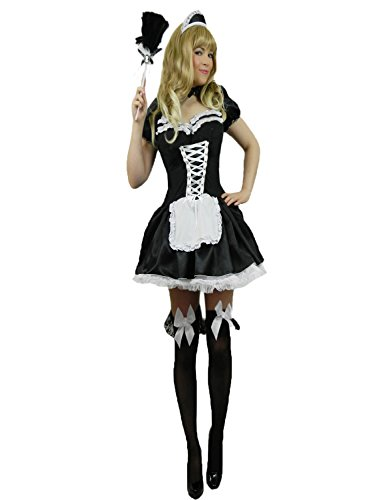 Yummy Bee Womens French Maid Costume + Feather Duster Size 10-12 Black and White -