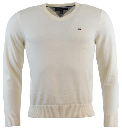 Tommy Hilfiger Mens Long Sleeve Pacific V-Neck Pullover Sweater - L - Cream
