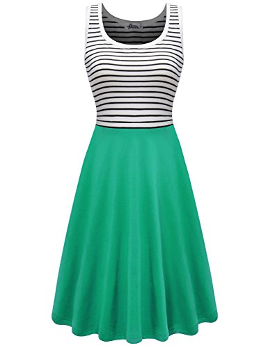 Herou Women Striped Sleeveless Casual Soft Cotton Tank Dress(Light Green,X-Large)