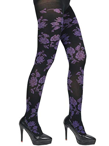 Chic Fashion Elastic Matte Rose Floral Print Tights Pantyhose, opaque (Black/Violet)