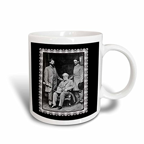 3dRose mug_160767_2 Generals Robert E Lee, Curtis Lee and Colonel Walter Taylor by Mathew Brady 1865 Civil War Photo Ceramic Mug, 15 oz, White (Robert E Lee Civil War General 2)