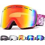 Snowledge Ski Goggles Womens with Frameless Interchangeable Lens, Skiing Snowboard Goggles with OTG,Anti-Fog, 100% UV, Helmet Compatibility for Unisex Women Men