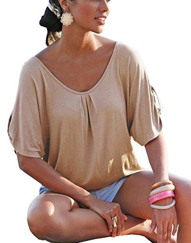 Panneau Manches Shirt Chemisier Beautisun Femmes Dentelle Kaki en Manches D't Veste Col Chemise Couture T Rond Blouse qnT74Pnt