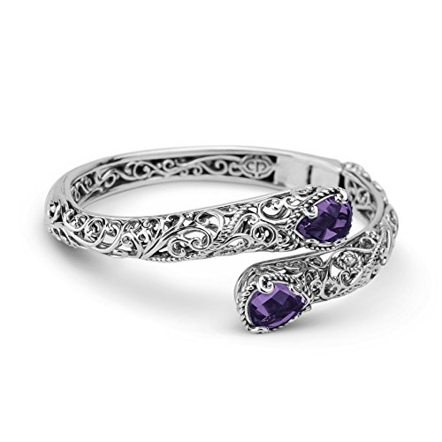 Carolyn Pollack Sterling Silver Amethyst Hinged Bypass Cuff Bracelet by Carolyn Pollack