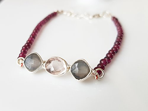 Quartz Moonstone Pendant (Rose Quartz & Moonstone Silver Pendant with Dark Pink Garnet Beads Bracelet with 925 Silver Findings 6.50
