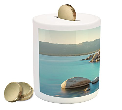 Lake Coin Box Bank by Ambesonne, Pastoral Spring Time Scenery in Provincial Countryside Lake Beach Shallow Water Theme, Printed Ceramic Coin Bank Money Box for Cash Saving, Blue - Spring Provincial