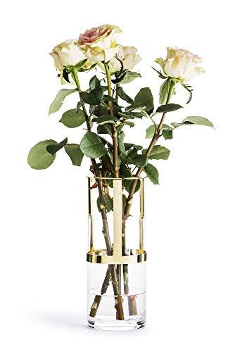 Sagaform Designer Adjustable Gold and Glass Vase, -