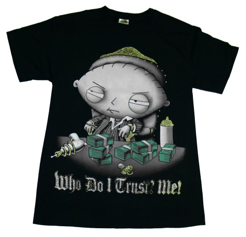 "FAMILY GUY ""STEWIE: WHO DO I TRUST? ME!"" POKER GANGSTER Licensed Tee (Adult - M)"