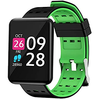 KJHG Smart Watch-Waterproof Fitness Activity Tracker with Wearable Heart Rate Monitor Oximeter Blood Pressure Wrist Watch Bluetooth Running Pedometer Sport Wristband Estimated Price £28.47 -