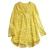 Keliay Bargain Womens V Neck Long Sleeve Floral Loose Tops Casual Plain Tee Shirt Linen Blouse