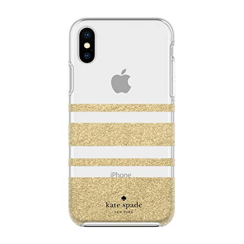 Kate Spade New York Phone Case for Apple iPhone X and 2018 iPhone Xs Protective Phone Cases with Slim Design Drop Protection and Floral Print, Charlotte Stripe Gold Glitter/Clear