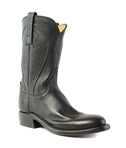 Lucchese Hl6502.8r Bonnie Da Donna Nero Ranch A Mano In Pelle Da Cowboy Stivali Western