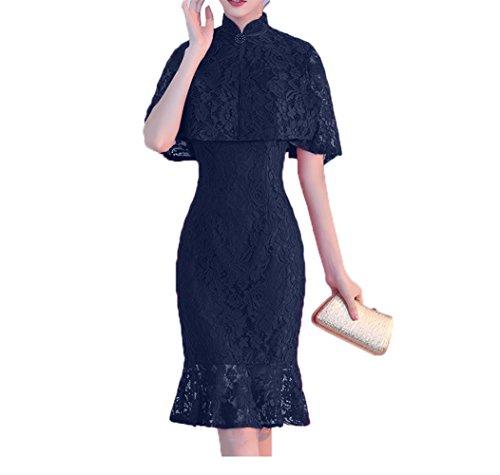 Stola Blau Damen Partykleider mit Festlichkleider Abendkleider Navy Charmant Knielang Brautmutterkleider 01qwzHH