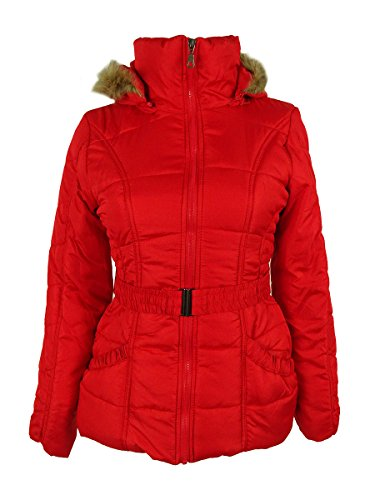 Rampage Faux-Fur-Trim Belted Puffer Coat Small Red