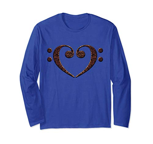 Double Bass Clef Heart Rust and Black Music Lover Bassist Unisex Long Sleeve T-Shirt