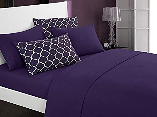 (Chic Home Illusion 6 Piece Sheet Set Super Soft Solid Color Deep Pocket Design - Includes Flat & Fitted Sheets and Bonus Printed Geometric Pattern Pillowcases Queen Plum)
