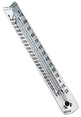 Delta Education V-Back Metal Thermometers, Fahrenheit/Celcius Dual Scale (Pack of 30)