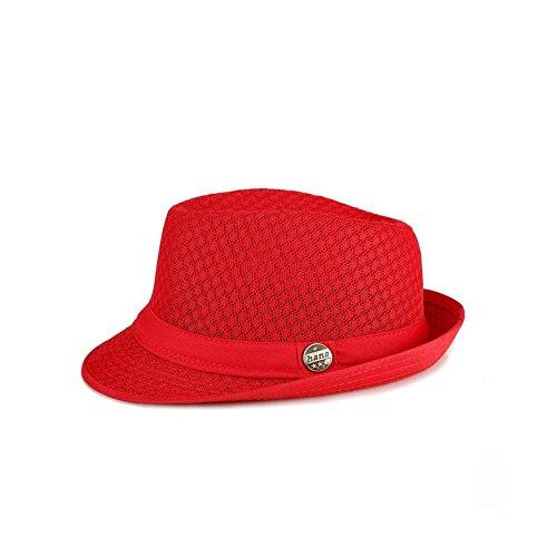 RoseSummer Men's Mesh Fedora hat Soft Cool Summer Short Brim Straw Classic Trilby Cuban Beach Sun Cap -