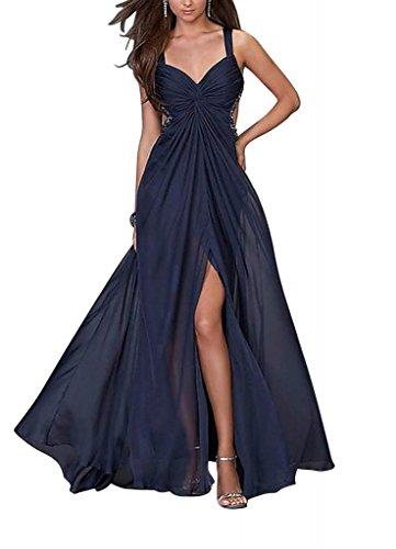 Split Vorder mit GEORGE Blau Langes BRIDE Einzigartige Strap Abendkleid Designer xnHq8gC0