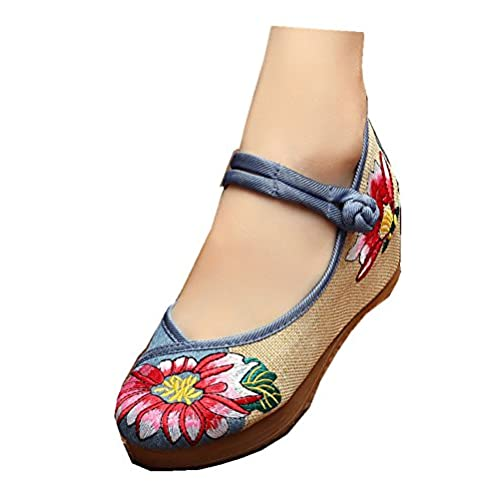 d2cc9bcf7df9 free shipping Tianrui Crown Women s Embroidery Floral Strappy Round Toe  Platform Wedges Mary Jane Shoes