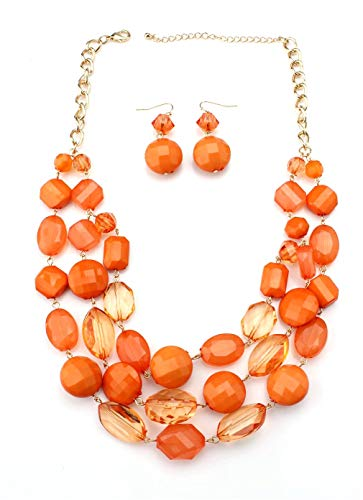 Youthway Jewel plastic beads short necklace and earring - Necklace Statement Orange