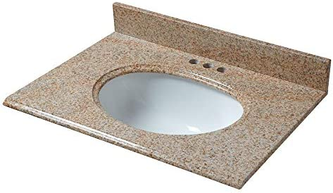 CAHABA CAVT0130 25 x 22 Beige granite vanity top with oval bowl and 4 faucet spread