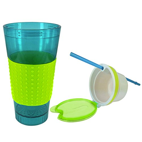 2 Snack & Drink 2-in-1 Travel Tumbler Mugs w/Straw Beverage Food Easy Grip 16oz 16 Oz Translucent Travel Mug