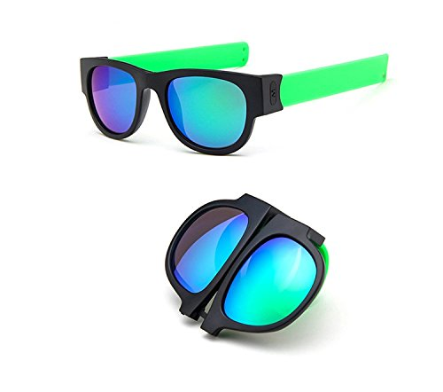Flee Slap Folding Sunglasses Fashion Sunglasses for Driving Action Sports (Green , - Sunglasses Slap