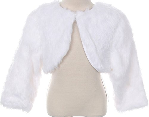 Little Girls Faux Fur Flower Girl Cardigan Sweater Bolero Jacket Shrug (90TR003K) White 5