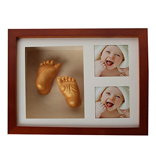 1 Set Newborn Baby Babyprints Handprint Footprint Casting Kit Coffee Photo Frame Kits 3D Wooden Photo Frame for Baby Boy Girl Shower Gift Souvenir Include Material -