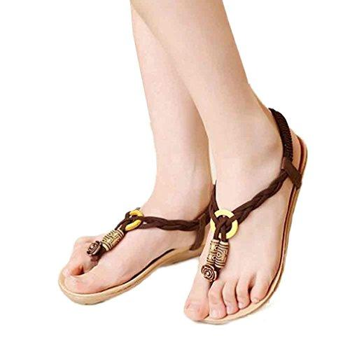 Elevin(TM)2017Women Spring Summer Bohemia Sweet Beaded Flip-flop Clip Toe Sandals Shoes