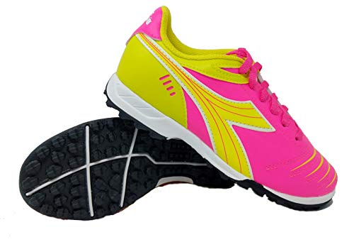 Diadora Kids Cattura TF JR Turf Soccer Shoe (11 Little Kid, Neon Pink/Neon Yellow)