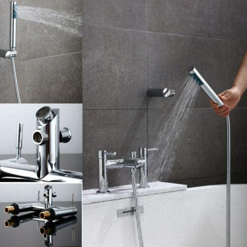 Bath Taps with Shower Bathroom Tub Taps Pop Out Dual Lever Mixers Monobloc Chrome Brass Water Conservation Tap