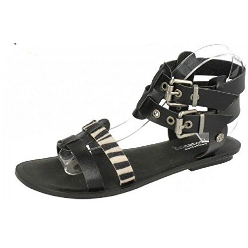 Savannah Ladies Double Ankle Strap Open Toe Sandals - Black Synthetic - UK Size 5 - EU Size 38 - US Size 7 ownh2fKo5v