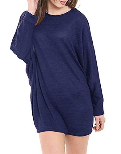 marino lisa larga Azul Mujer 21fashion de Morado Camiseta manga tqn7IxR8w