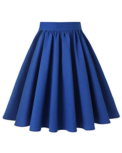 MINTLIMIT Womens 50s Vintage Skirt Knee Length High Waist Pleated Midi Skirts(Solid Navy,Size M) -