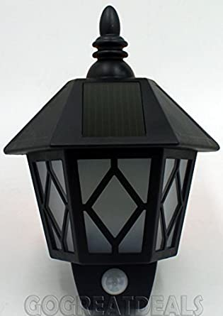 Kingavon Solar – Farol de pared para exterior (con sensor de movimiento, color negro