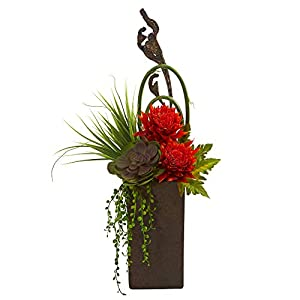 Nearly Natural 1694-OR Tropical & Succulent Artificial Brown Vase Silk Arrangements, Orange Red 41