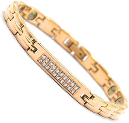 [해외]Lobyka 게르 마 늄 팔찌 여성용 티타늄 스테인리스 골드 팔찌 여자 생일 선물 자기 건강 액세서리 / Lobyka Germanium Bracelet Women`s Titanium Stainless Steel Gold Bangles Women`s Birthday Giftmagnetic Health Accessories