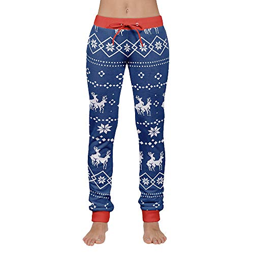 PASATO Clearance Sale!Women's Xmas Christmas Print Drawstring Casual Pants(Blue, M) -