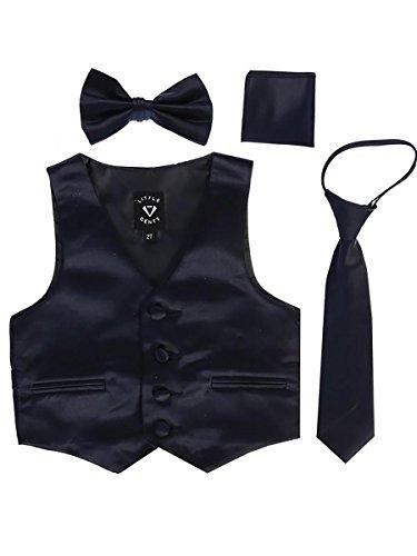 Navy Big Boys 4 Piece Formal Satin Vest Set Zipper Tie Bowtie Hanky 8