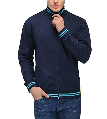 AWG Men's Premium Rich Cotton High Neck Hoodie Sweatshirt - Navy Blue