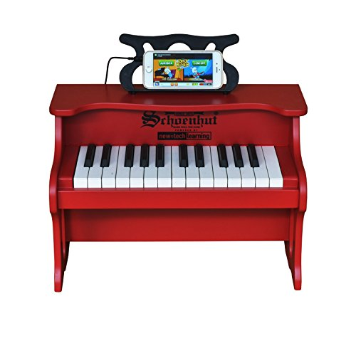 Schoenhut 25 Key Digital Table Top Toy Piano, Red, One Size