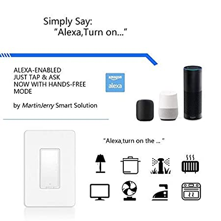 Smart Switch by Martin Jerry, Works with Alexa, Smart Home Devices Works  with Google Home, 2 4G Wifi, No Hub, Single Pole Light Switch, Need Neutral