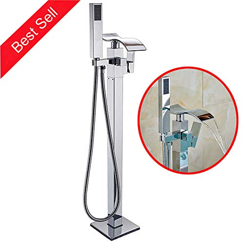 Zovajonia Floor Mount Chrome Finish Bathtub Waterfall Spout Tub Filler Shower Faucet with Hand Sprayer NEW