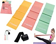 Squeeze Bands Resistance Bands Set, 3 Pack Latex Free Flat Elastic Exercise Stretch Bands With Door Anchor, fo