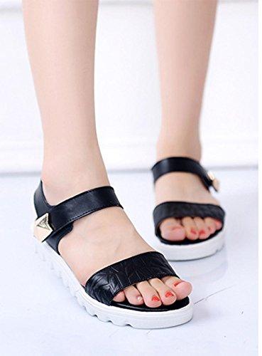Verano palabra cingulada mujeres de las sandalias de punta abierta con sandalias planas piso de estudiantes Black