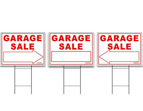Large GARAGE SALE Sign Kit with Tall Stands - Printed Double (both) Side - Include (1x) 24