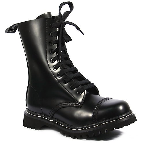 ROCKY-10, Lace-Up Ankle Boots, Black Leather 4M