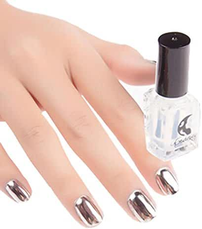 Mchoice Mirror Nail Polish Plating Silver Paste Metal Color Mirror Silver Base Coat for Nail Art